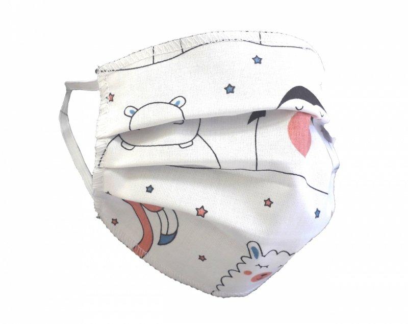 Maska ochronna 2-warstwowa 100% bawełny - wielorazowa 60°C wz. 7 ZWIERZAKI