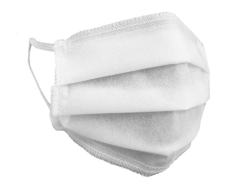 (kpl. 50 szt.) Maska ochronna 3-warstwowa z włókniny - wielorazowa 60°C BIAŁA