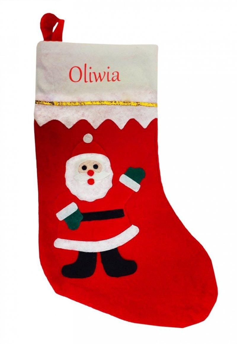 Skarpeta świąteczna Mikołaj na prezenty 35cm z Twoim imieniem, nadruk