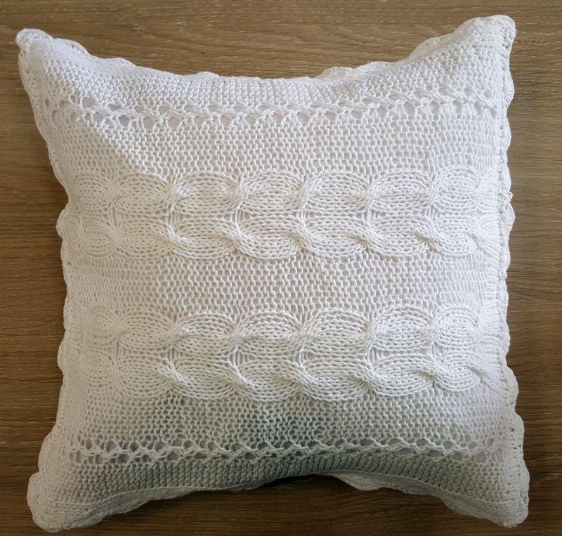 Poszewka na poduszkę  szydełkowa 031/SZ 40x40cm koloru białego wz.04