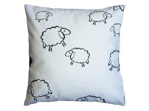 Poszewka na poduszkę BARANKI 40x40 - 100% bawełna, wz. białe