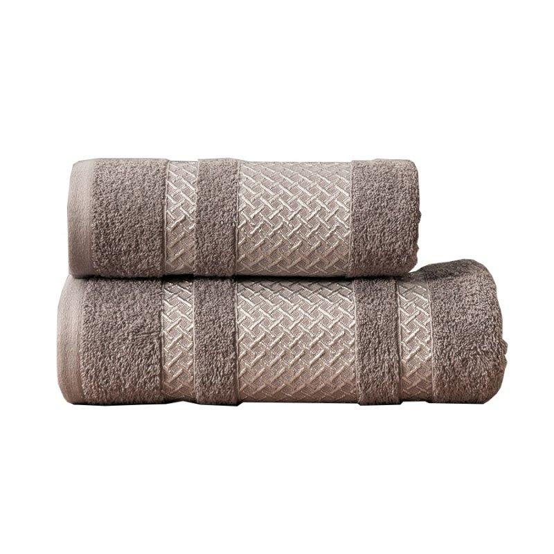 Ręcznik Lionel 70x140 kolor ciemny szary ze srebrną bordiurą