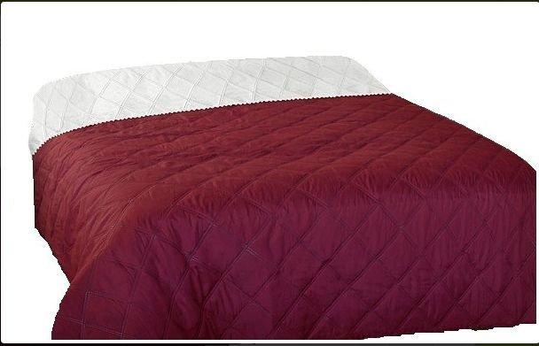 Narzuta dwustronna jednobarwna Ben 160x200 - kolor bordowy