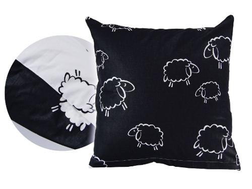 Poszewka na poduszkę BARANKI 70x80 - 100% bawełna, wz. czarno-białe