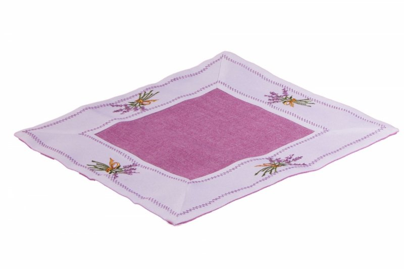 Ozdobny obrus haftowany rozmiar 60x60 Lawenda Kolor: biało-fioletowy