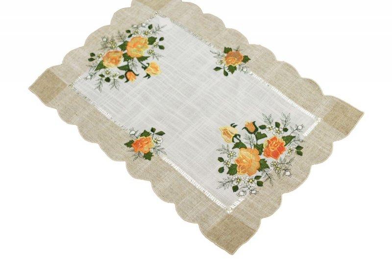 Obrus 35x50 wz. 1654 Kolor: lniany pomarańczowe róże