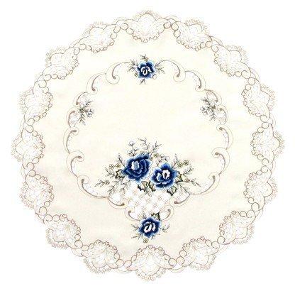 Obrus Haft 60cm koło - niebieskie kwiaty