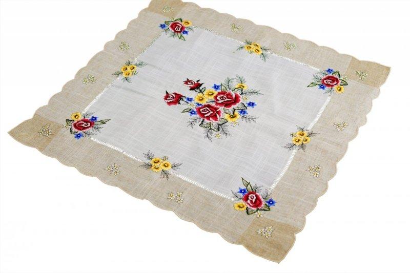 Obrus 60x60 wz. 1787 Kolor: lniany bordowe róże