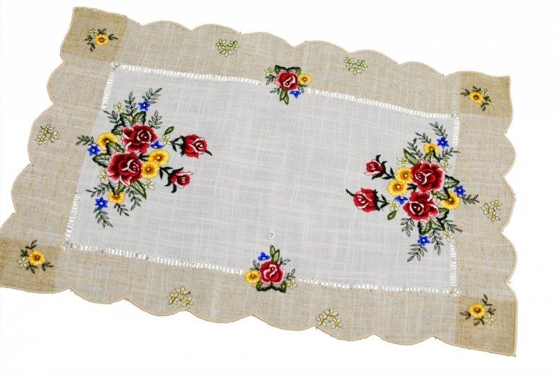 Obrus 35x50 wz. 1787 Kolor: lniany bordowe róże