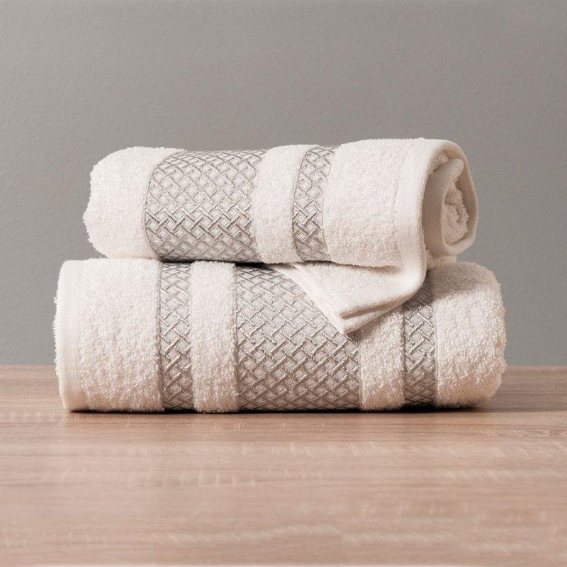 Ręcznik Lionel 70x140 kolor biały ze srebrną bordiurą