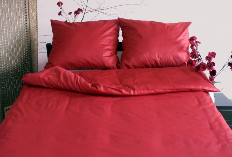 Poszewka na poduszkę 40x40 - 100% bawełna satynowa DARYMEX, zapięcie na zamek wz. bordowy