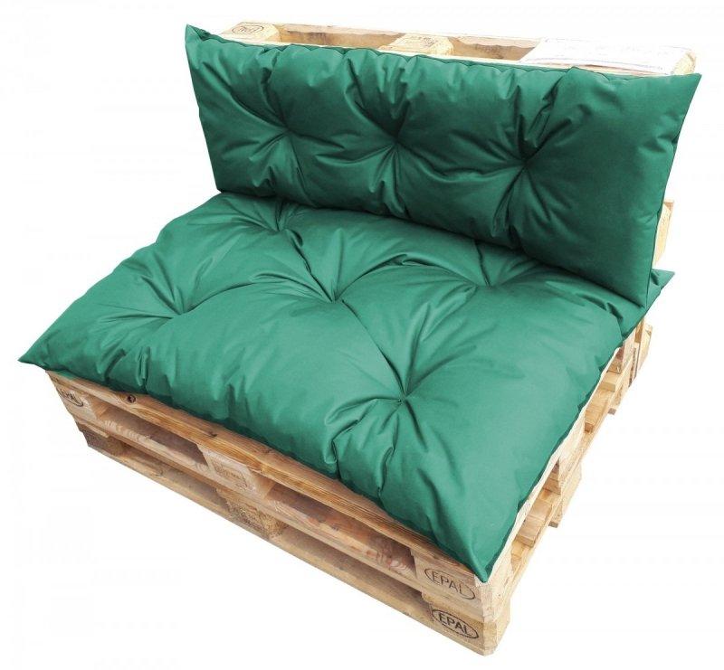 Komplet poduszek ogrodowych na palety 120x80 + 120x40 wz. Ciemnozielony