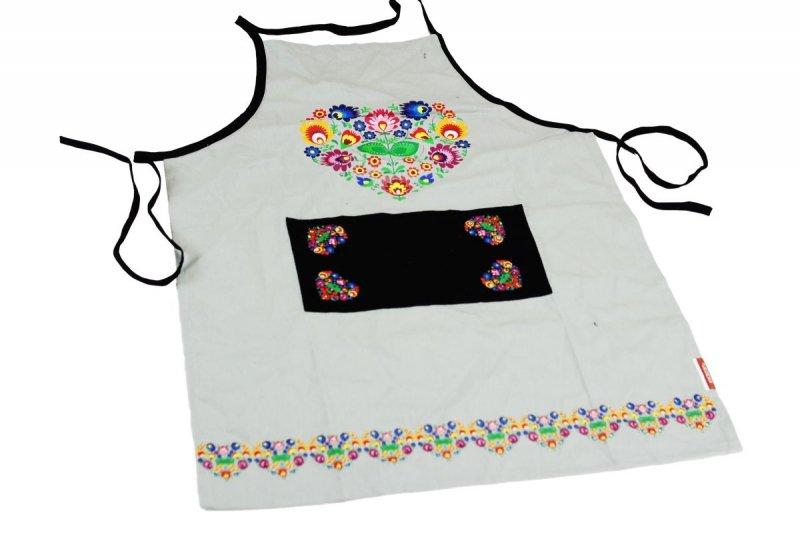 Fartuch kuchenny - Ludowy Łowickie wzory 60x80 Kolor biały  wz.036