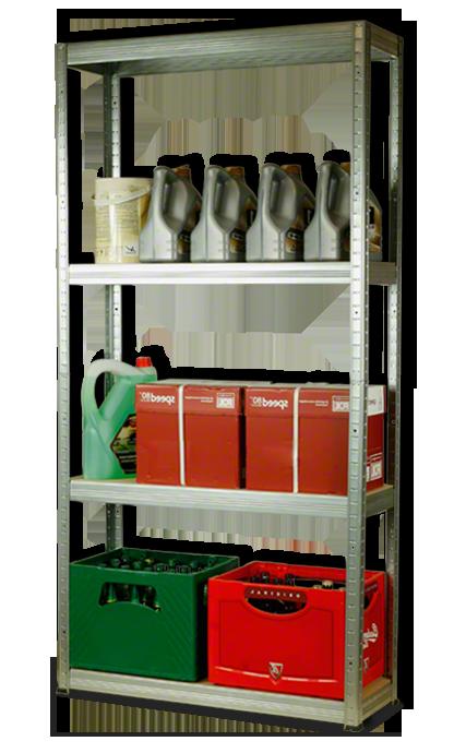 Metallregal Steck-Lager- Schwerlastregal bis 400 kg pro Boden , verzinkt , HZ_180x110x30, 5 Böden