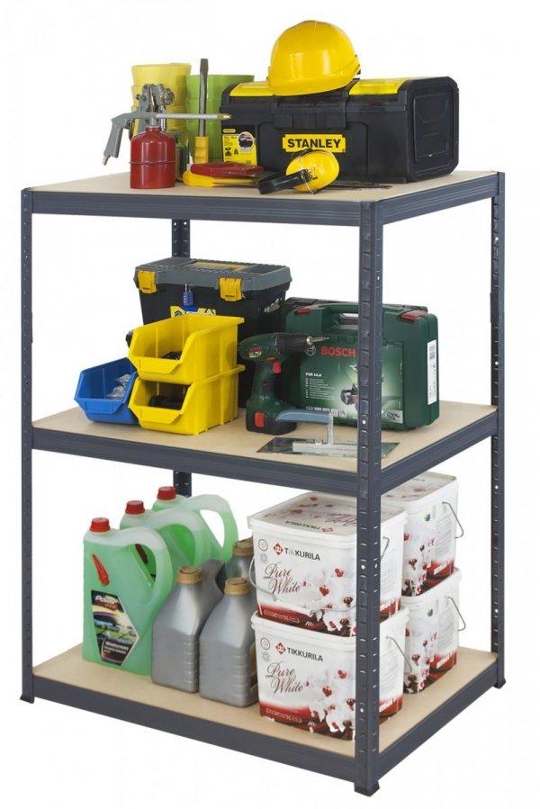 Metallregal Werkstatt Schwerlastregal Helios 106x110x30_3 Böden, Tragkraft bis 400 Kg pro Boden,  Viele Farben zur Auswahl