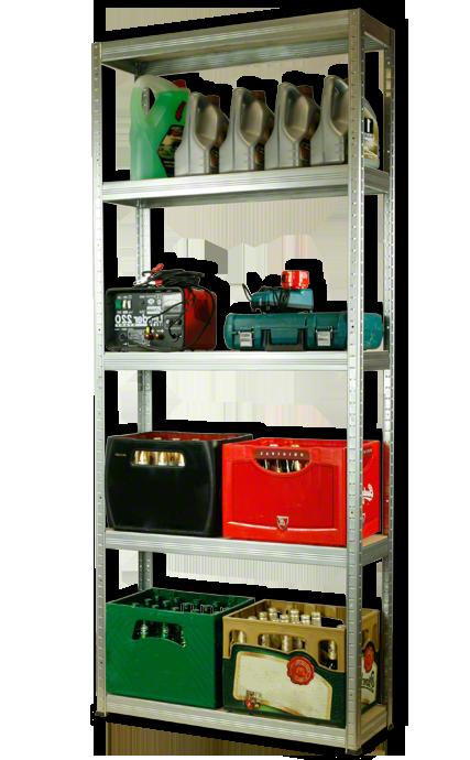 Metallregal Steck-Lager- Schwerlastregal bis 400 kg pro Boden , verzinkt , HZ_196x090x30, 5 Böden