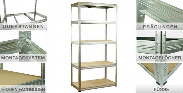 Metallregal Steck-Lager- Schwerlastregal bis 400 kg pro Boden , verzinkt , HZ_090x075x30, 3 Böden