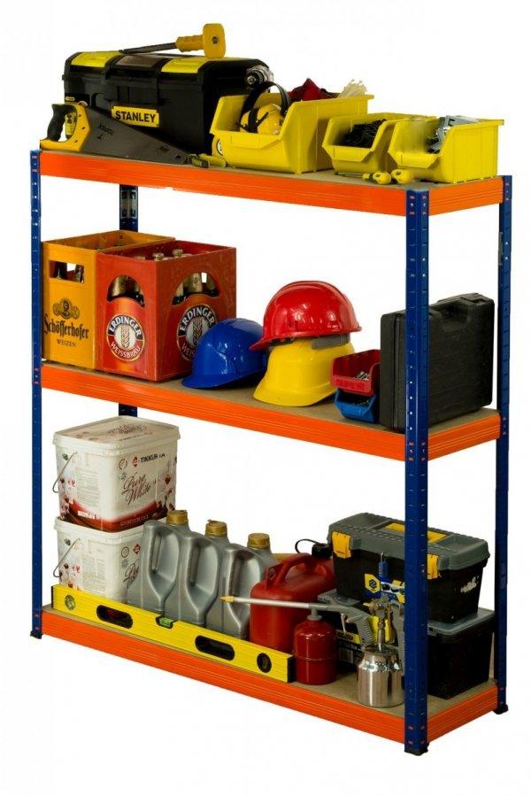 Metallregal Werkstatt Schwerlastregal Helios 106x110x60_3 Böden, Tragkraft bis 400 Kg pro Boden,  Viele Farben zur Auswahl