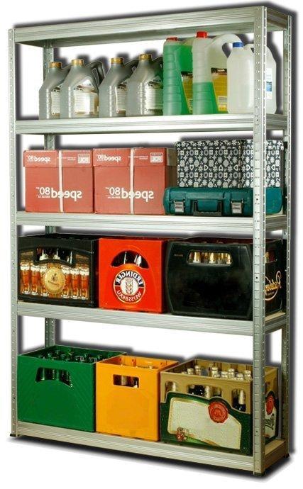 Metallregal Steck-Lager- Schwerlastregal bis 400 kg pro Boden , verzinkt , HZ_180x120x40, 5 Böden