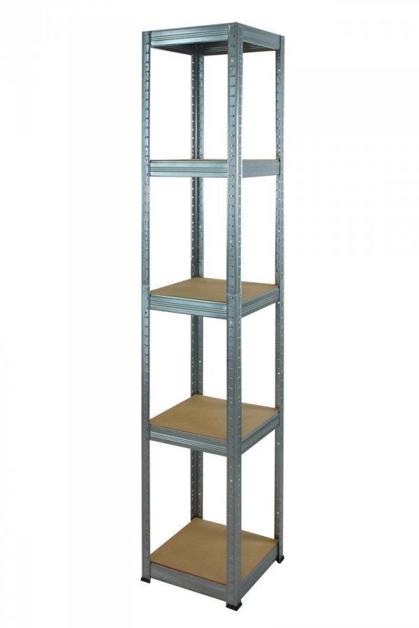 Metallregal Steck-Lager- Schwerlastregal bis 175 kg pro Boden , verzinkt , HZ_196x030x30, 5 Böden, Quadratisch