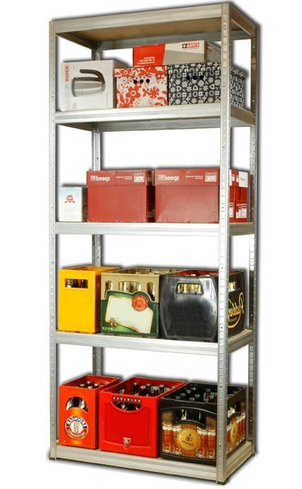 Metallregal Steck-Lager- Schwerlastregal bis 400 kg pro Boden , verzinkt , HZ_196x075x45, 5 Böden
