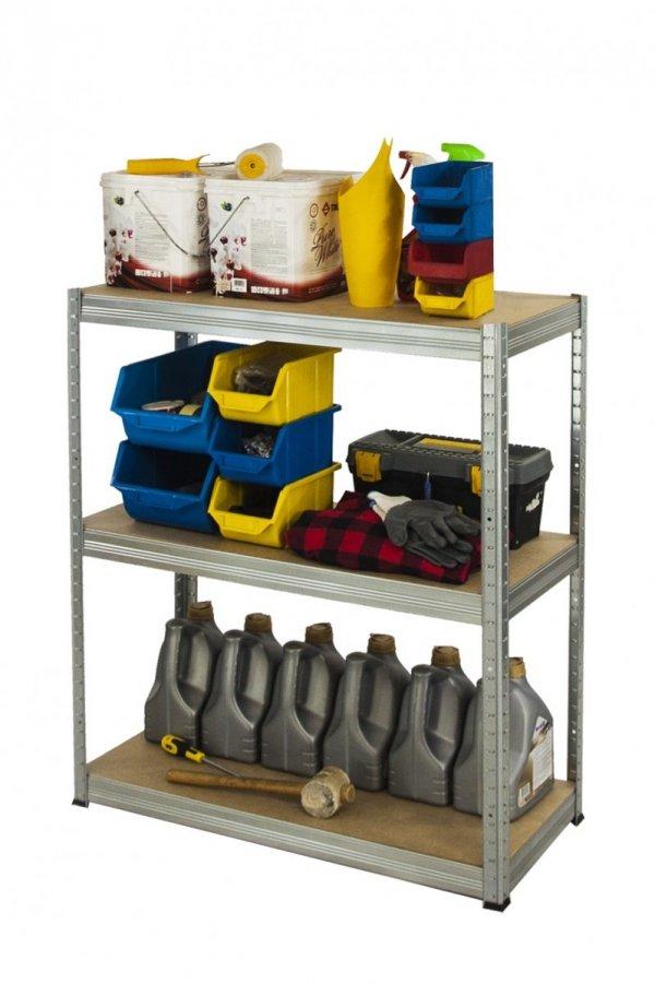 Metallregal Steck-Lager- Schwerlastregal bis 400 kg pro Boden , verzinkt , HZ_090x120x50, 3 Böden