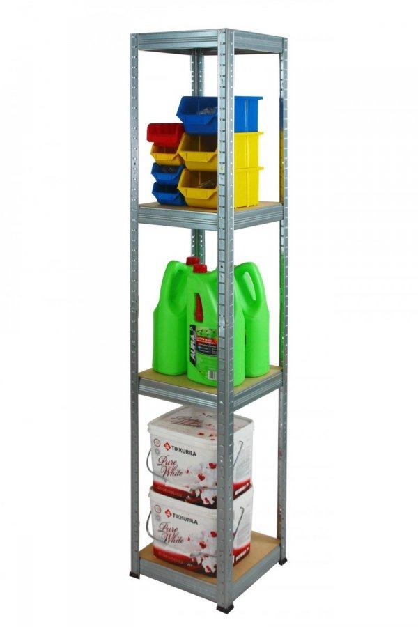 Metallregal Steck-Lager- Schwerlastregal bis 175 kg pro Boden , verzinkt , HZ_180x040x40, 4 Böden, Quadratisch
