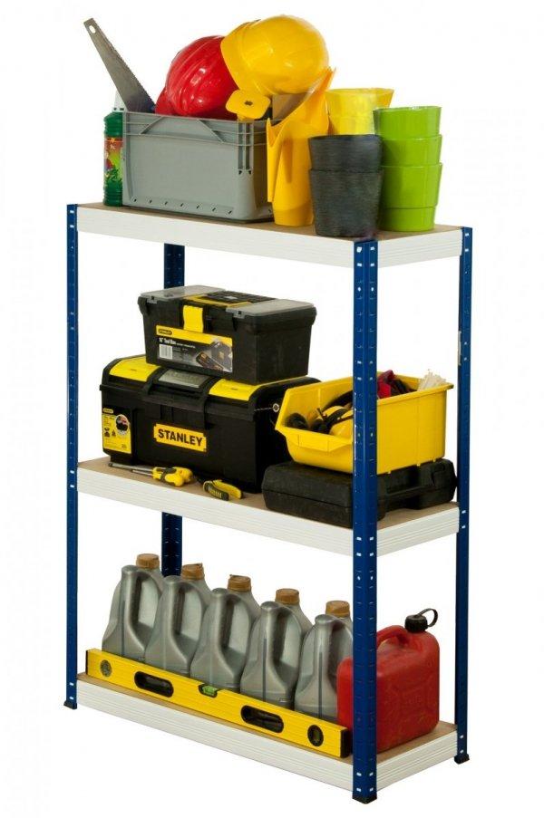 Metallregal Werkstatt Schwerlastregal Helios 090x030x30_3 Böden, Tragkraft bis 175 Kg pro Boden,  Viele Farben zur Auswahl, Quadratisch