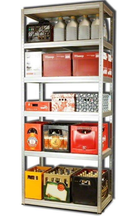 Metallregal Steck-Lager- Schwerlastregal bis 400 kg pro Boden , verzinkt , HZ_196x110x45, 6 Böden