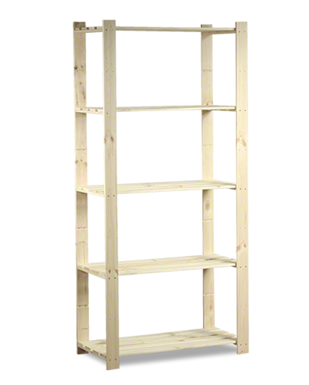Holzregal 5 Böden 170x80x38 cm, B-24, Unbehandelt