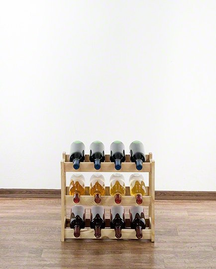 Weinregal für 12 Flaschen RW-1-12 (43x25x38), Unbehandelt, Erlen, Braun