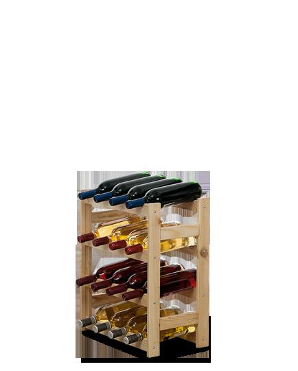 Weinregal für 16 Flaschen RW-1-16 (43,5x25x54), Unbehandelt, Erlen, Braun