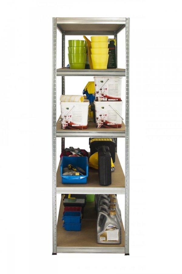 Metallregal Steck-Lager- Schwerlastregal bis 400kg pro Boden , verzinkt , HZ_196x100x30, 5 Böden