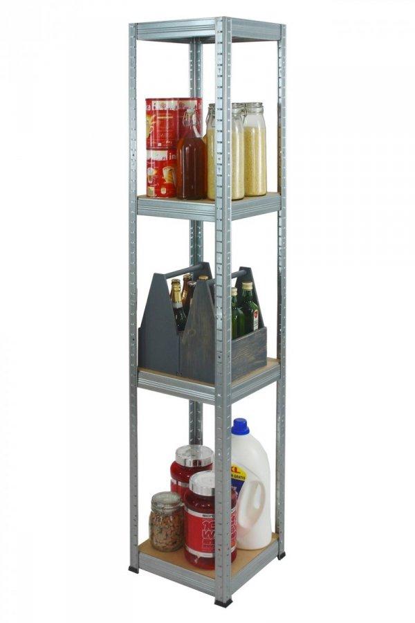 Metallregal Steck-Lager- Schwerlastregal bis 175 kg pro Boden , verzinkt , HZ_180x050x50, 4 Böden, Quadratisch