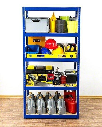 Metallregal Werkstatt Schwerlastregal Helios 196x075x60_5 Böden, Tragkraft bis 400 Kg pro Boden,  Viele Farben zur Auswahl