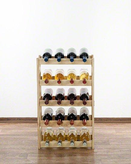 Weinregal für 20 Flaschen RW-1-20 (43,5x25x70), Unbehandelt, Erlen, Braun