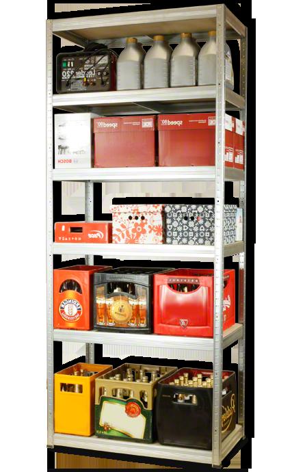 Metallregal Steck-Lager- Schwerlastregal bis 400 kg pro Boden , verzinkt , HZ_213x110x60, 6 Böden