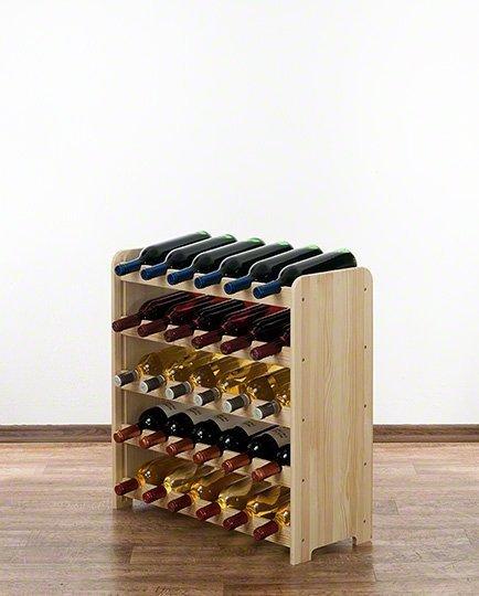 Weinregal für 30 Flaschen RW-3-30 (65x26,5x65), Unbehandelt, Erlen, Braun