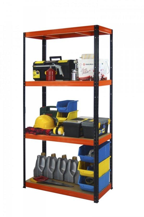 Metallregal Werkstatt Schwerlastregal Helios 180x090x45_4 Böden, Tragkraft bis 400 Kg pro Boden,  Viele Farben zur Auswahl