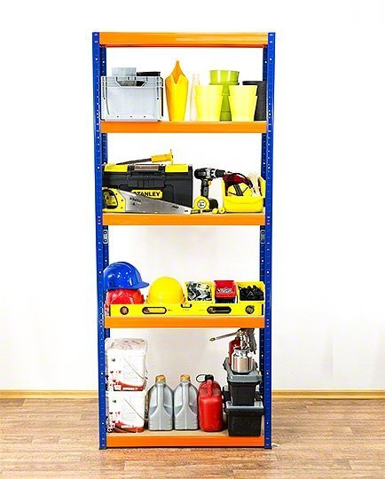 Metallregal Werkstatt Schwerlastregal  bunt farbig   Helios 196x090x45 5 Stabil