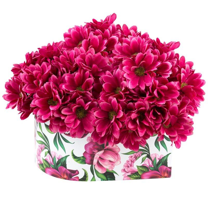 Flower Box Średni Serce W Amarantowe Kwiaty