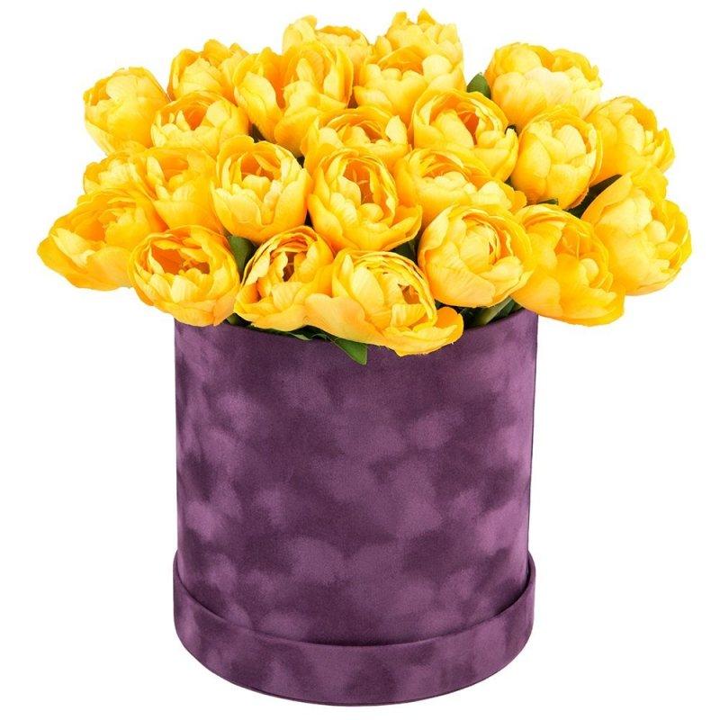 Flower Box Zamszowy Duży Fiolet