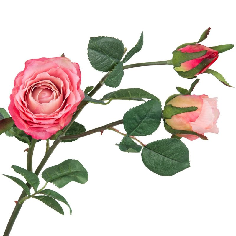 Gałązka Róża 3 Kwiaty 82cm Koral/Jasny Róż