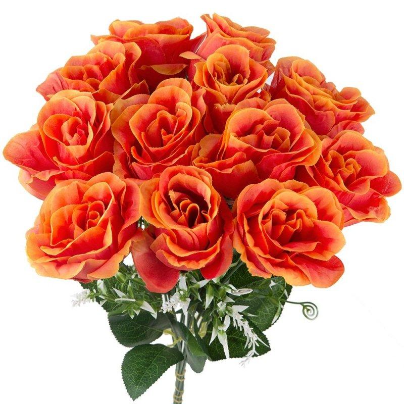 Bukiet Gałązka Róża Pomarańcz 12szt