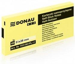 Bloczek samoprzylepny DONAU Eco, 38x51mm, 1x100 kart., jasnożółty