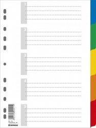 Przekładki DONAU, PP, A4, 225x297mm, 5+1 kart, mix kolorów