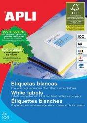 Etykiety uniwersalne APLI, 70x50,8mm, prostokątne, białe 100 ark.