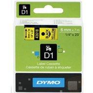 Dymo taśma do drukarek etykiet, D1 43618 | 6mm x 7m | czarny / żółty
