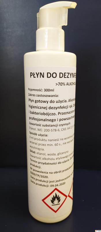 Płyn do dezynfekcji rąk i powierzchni 300ml z pompką 8%VAT