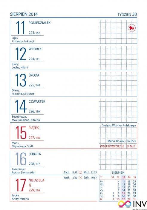 Kalendarz biurowy ZODIAK (H6) 118 x 193 mm TELEGRAPH
